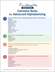 Common Rules for Advanced Alphabetizing