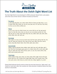 The Truth About the Dolch Sight Word List